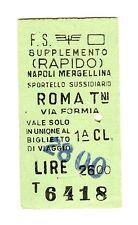 BIGLIETTO TICKET EDMONSON SUPPL. RAPIDO  NAPOLI ROMA  SPORTELLO SUSS.   8-4-1981