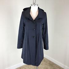 DKNY M Navy Blue Rain Jacket Trench Coat Hood Water Resistant Swing EUC