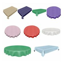 Rectangle & Round Plastic Reusable Table Cloth Covers Cover Christmas Party