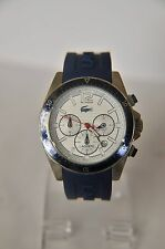 LACOSTE MEN'S CHRONOGRAPH BLUE SILICONE BAND STEEL CASE WATCH  A-