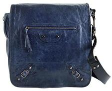 RDC6661 Authentic Balenciaga Blueberry Goatskin Leather Men's Messenger Bag