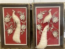 "Vintage Mosaic 25"" Boho Beach Sea Shell Bird on Red Fabric Pair"