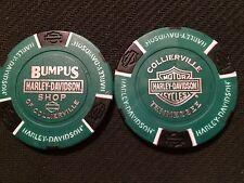 Harley Ball Marker Poker Chip (ORIGINAL Green/Black) Bumpus Shop Collierville TN