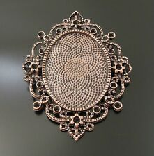 33719 Vintage Copper Lace Cameo Setting Cabochon Tray Inner Size 40*30mm 2pcs