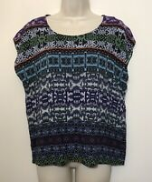 Cabi Medium Blouse Purple Blue Short Cap Sleeve Relaxed Fit Top Style 832