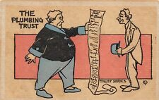 The Plumbing Trust Antique Vintage Comic Postcard Funny Posted Men Bill
