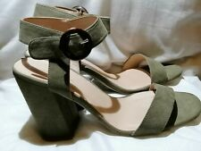 New bnwt new Look olive green strappy block heel sandals shoes faux suede 6 / 39