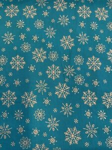 Fabric Freedom Turquoise/Silver Snowflake Christmas Cotton Craft By The Metre