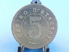 CASINO TOKEN FRANKREICH CASINO D`ETRETAT 5   - 15g - 35mm   (A14/231)