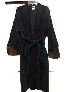 Puritan Special Edition Thick Terry Cloth Robe Men's One Size Green&Navy Stripe