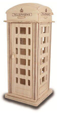 Telephone Box Construction Kit - Wood Craft - Self Assembly Puzzle Decorate DIY