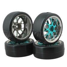 4x Drift Tires & Y Shape Blue Hub Wheel Rims for RC 1:10 Drift Car Black Plastic