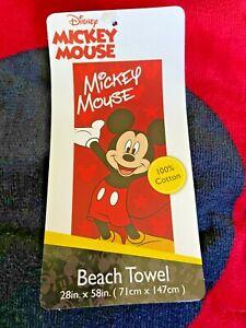 Mickey Mouse Beach Towel 28 x 58 * Brand New * 100 % Cotton Disney