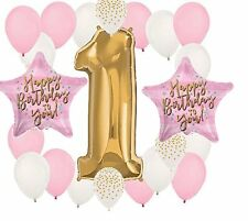 22 pc FIRST 1st BIRTHDAY party BALLOON set B PINK gold FUN to be ONE favors vhtf