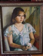 Stunning Evelyn Embry Original Oil Painting Young Girl
