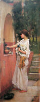 """Fine Oil painting J. W. Waterhouse - A Roman Offering young girl & flowers 36"""""""