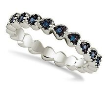 Blue Diamond Heart Band .925 Sterling Silver Linked Diamond Heart Ring .23ct