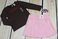 NWT 5T Gymboree Sweet Treats brown polka dot top, pink cord skirt & curlies set
