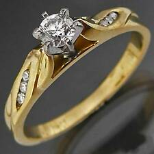 Classic 18k Solid Yellow GOLD DIAMOND SOLITAIRE RING  Val=$2175 Large Sz V1/2