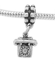 STERLING SILVER ROTARY DIAL STYLE TELEPHONE - PHONE EUROPEAN STYLE DANGLE BEAD