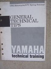 1992 Yamaha Motorcycle ATV Training Manual General Technical Tips Diagnostics  L