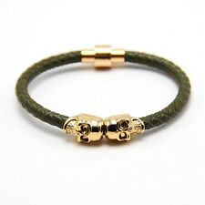 Fashion Customize Leather Magnetic Wrap Skull Rope Braided Mens Bracelet + Box