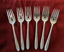 """Towle Six Sterling 6 1/2"""" Pierced Salad Forks: Silver Flutes Pattern No Monogram"""