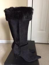"Carlos Santana ""Fiona"" Black Suede Fur Leather Pointy Toe High Heel Boots Size 7"