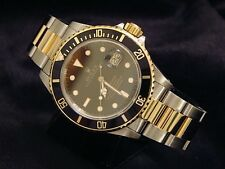 Rolex Submariner Date 18k Yellow Gold & Steel Watch Black Dial Bezel Sub 16803