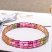 Natural Colorful Tourmaline Rainbow Red Gemstone Beads Stretch Bracelet 9mm AAAA