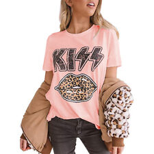 Womens Leopard Print Kiss T Shirt Blouse Ladies Loose Short Sleeve Hipster Tops