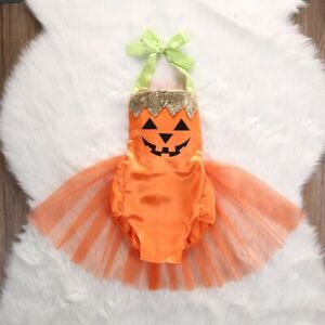 Halloween Baby Girl Clothes Party Costume Romper Ruffles Cute Fancy Tutu Outfit