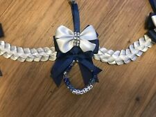 Beautiful 3 clip bow Pram charm romany bling personalised circle beads Navy Grey
