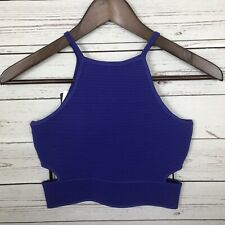 NWT Bebe Purple Rita Ottoman Sweater Crop Top Women's XS Fitted Side Cut Outs