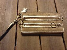 authentic Coach Poppy Double zip wristlet wallet organizer tan and gold