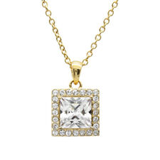 STELLIA 24K Gold Plated Necklace W 4.25 Ct. Square CZ And 24 Swarovski Crystal
