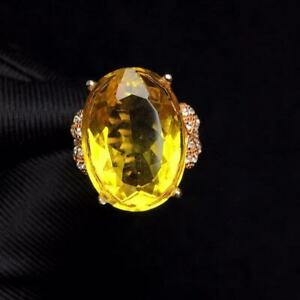 Certified Natural Citrine Quartz  S925 Silver Plated Rose Gold Ring Women Gift