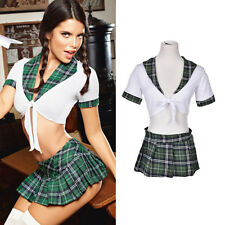Women Sexy Lingerie Halloween School Girl Uniform Fancy Dress Costume OutfitVE