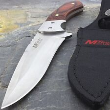 "9"" MTECH USA WOOD HANDLE HUNTING KNIFE w/ SHEATH Survival Tactical Fixed Blade"