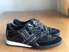 Authentic Louis Vuitton Black Suede Patent Leather Logo Sneakers Size EU 36 US 6