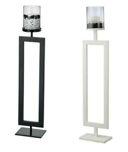 Floor Standing Candle Holders Metal Large Display Black / White with Clear Glass
