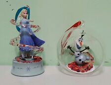 Disney Frozen Singing Elsa Figure Olaf Glass Globe Christmas Ornament Set Of 2