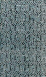 Vintage Style Geometric Teal Green Oushak Oriental Area Rug Handmade Wool 6x9 ft