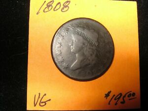 1808 CLASSIC HEAD LARGE CENT 1ST YEAR OF ISSUE VERY GOOD