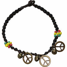 Rasta Flower Peace Sign Ankle Bracelet Foot Anklet Chain Feet Charm Jewellery