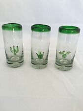 THREE AMIGOS MEXICAN TEQUILA SHOT GLASSES HANDBLOWN WITH CACTUS INSIDE SET OF 3