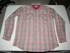 COLUMBIA MEN'S OMNI-SHADE RED GRAY WHITE PLAID BUTTON UP SHIRT SIZE 2XL TALL