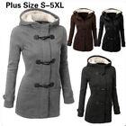 PlusSize Double-breasted Winter Coat Women Wool Jacket HoodyParka Horn Button MQ
