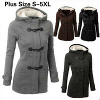 PlusSize Double-breasted Winter Coat Women Wool Jacket HoodyParka Horn Button SY