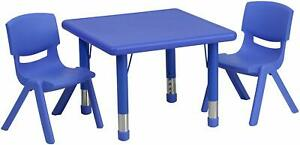 24'' Square Blue Height Adjustable Activity Table Set with 2 Chairs New